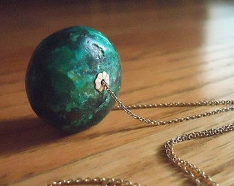 Green Turquoise Necklace - Gold Jewelry - Natural Stone Jewellery - Chain - Fashion