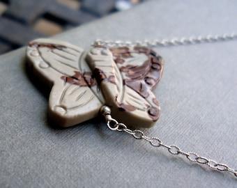 Butterfly Necklace - Butterfly Jewelry - Sterling Silver Jewelry - Gray Maroon Jasper - Gemstone Jewellery - Chain Pendant Unique N-41