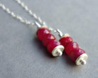 Ruby Earrings - July Birthstone - Red Gemstone Jewellery - Sterling Silver Jewelry - Chain - Simple
