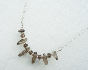 Brown Smoky Quartz Necklace - Sterling Silver Jewelry - Gemstone Jewellery - Stick Bead - Exotic - Tribal - Fringe - Bib - Chain N-61