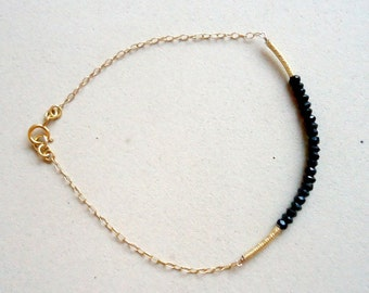 Black Spinel Bracelet Gold Chain Bead Bar Thin Chain Skinny Bracelet Black and Gold TBM