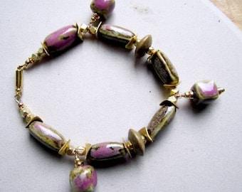 Pink Bracelet - Tan Raku Bead Jewelry - Yellow Gold Jewellery - Women - Summer - Fashion - Glass B-57