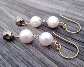 White Pearl Earrings - Yellow Gold Jewelry - Pyrite Natural Gemstone Trillion Jewellery - Fools Gold - Fashion - Unique