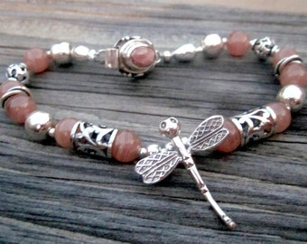 Pink Bracelet - Rhodochrosite Jewelry - Dragonfly Charm - Natural Gemstone Jewellery - Sterling Silver - Unique - Filigree
