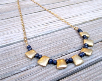 Sapphire Necklace - Navy Blue Jewelry - September Birthstone Jewellery - Brushed Gold - Gemstone - Anniversary - Bead Bar - Chain N-113