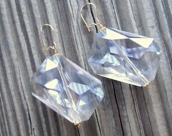 Clear Crystal Earrings - Wedding Jewellery - Bride - 24K Gold Vermeil Jewelry - Glam - Fashion - Chunky N-28