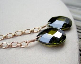 Green Earrings - CZ Jewellery - Chain Earrings - Yellow Gold Jewelry -Cubic Zirconia - Briolette - Chain - Teardrop ER-32