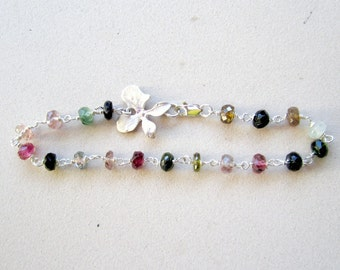 Watermelon Tourmaline Bracelet - October Birthstone - Pink and Green - Rainbow - Sterling Silver Jewelry - Gemstone Jewellery - Orchid