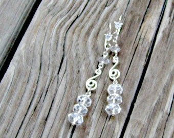 Clear Crystal Quartz Earrings - Wedding Jewelry - Gemstone Jewellery - Bride - Icicle - Luxe - Couture