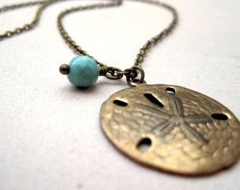 Sand Dollar Necklace - Brass Jewelry - Turquoise Gemstone Jewellery - Chain - Pendant