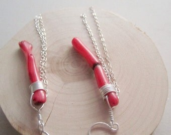 Coral Branch Earrings - Sterling Silver Jewellery - Red - 925 Jewelry - Chain