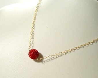 Red Necklace - Pave Swarovski Crystal Jewellery - Yellow Gold Jewelry - Holiday - Chain - Unique Gifts - Glam N-119