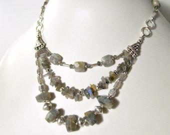 Gray Labradorite Necklace - Statement Necklace - Sterling Silver Jewelry - Multi Strand Jewellery - Triple Strand - Grey - Gemstone N-121