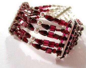 Red Garnet Bracelet - January Birthstone Jewelry - Sterling Silver Jewellery - Multi Strand - Crimson - Natural Gemstone - Beaded B-109