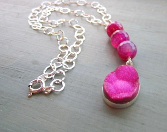 Hot Pink Necklace - Druzy Jewelry - Sterling Silver Jewellery - Gemstone - Drusy - Neon - Pendant - Chain - Mod
