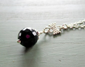 Black Onyx Pendant Necklace Sterling Silver Jewelry Handmade Gemstone Jewellery Wedding Bridesmaid Chain Drop Minimal Bow Dainty N-128