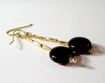 Black Earrings - Onyx Gemstone Jewellery - Yellow Gold Jewelry - Dainty - Simple - Everyday