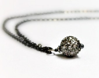 Pave Diamond Necklace - Oxidized Sterling Silver Jewellery - Chain Jewelry - Unique Pendant Drop Gift Ideas for Her April Birthstone N-155