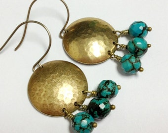 Turquoise Earrings - Brass Jewelry - Southwestern Jewellery - Everyday - Funky