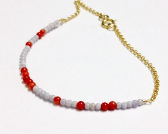 Red Coral Bracelet - Lavender Jewelry - Stackable - Gold Chain Jewellery - Thin - Skinny B-187