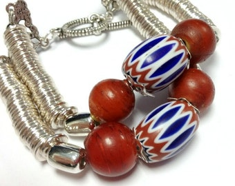 African Trade Bead Bracelet - Patriotic Jewelry - Silver Jewellery - Red White Blue - Vintage African Trade Beads