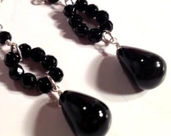 Black Onyx Earrings Sterling Silver Jewelry Gemstone Jewellery Unique Handcrafted Drop Dangle Unique Beaded Hoop Briolette Teardrop