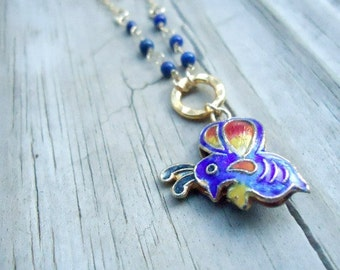 Navy Blue Necklace - Cloisonne Butterfly - Lapis Lazuli Jewellery - Gold Jewelry - Gemstone - Pendant - Chain N-164