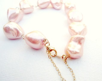 Peach Pearl Bracelet Gold Jewelry Bridesmaid Jewellery Gifts Unique Handmade Gemstone Wedding Prom Bride Safety Chain B-142