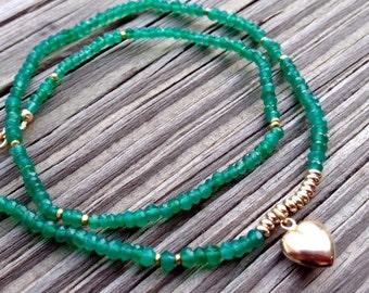 Green Onyx Bracelet - Gold Jewellery - Heart Charm - Wrap Jewelry