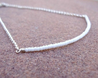 White Bead Bar Bracelet - Skinny Jewellery - Sterling Silver Jewelry - Thin - Stack - Layer - Chain B-TBM