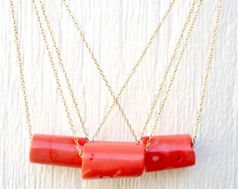 Coral Necklace - Yellow Gold Jewelry - Gemstone Pendant - Salmon - Natural - Chain - Mod - Chunky
