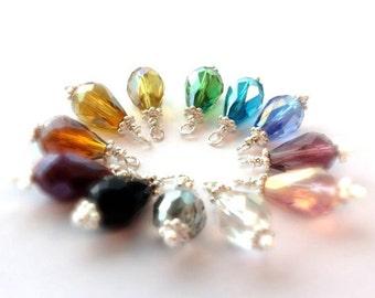 Crystal Necklace Bridesmaid Jewelry Birthstone Jewellery Sterling Silver Bridal Wedding Color Option Teardrop