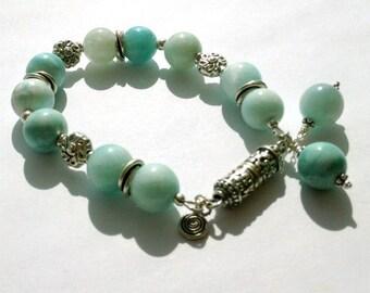 Larimar Bracelet - Blue Gemstone - Sterling Silver Jewelry - Chunky Jewellery - Bold - Statement Beaded Pastel