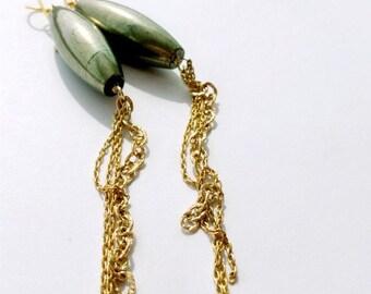 Pyrite Earrings - Long Earrings - Gold Filled - Statement Jewelry
