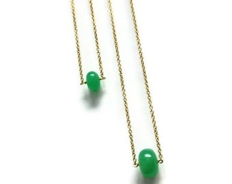 Chrysoprase Necklace - Green Jewelry Green Necklace - Gold Jewellery - Gemstone - Simple - Dainty - Pendant