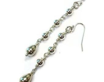 Silver Earrings Sterling Silver Jewelry Dangle Jewellery Teardrops Women's Luxe Everyday Minimal Wire Wrapped ER-TBM