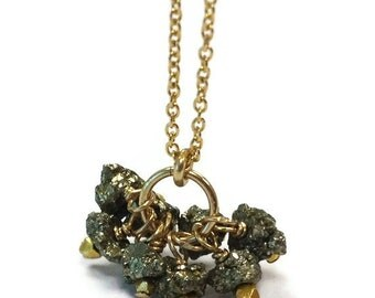 Pyrite Necklace - Fools Gold Jewelry - Cluster Pendant - Gemstone Jewellery - Fashion - Chain N-215