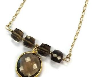 Brown Necklace - Smoky Quartz Jewelry - Bead Bar Jewellery - Yellow Gold - Pendant - Chain N-206