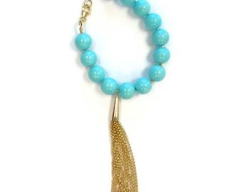 Turquoise Bracelet Gold Tassel Designer Inspired Jewelry Long Chain 14k Yellow Gold Jewellery Teal Aqua Summer Fashion B-170