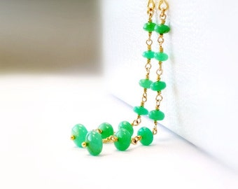 Chrysoprase Earrings - Green Gemstone Jewellery - Gold Filled - Fine Jewelry - St Patricks Day - Long - Dangle