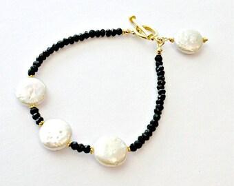 Black White Bracelet - Pearl Spinel Gemstone Jewellery - Gold Jewelry - Luxe  B-178