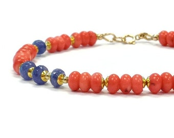 Coral & Tanzanite Bracelet - Beaded Jewelry - Salmon - Pink - Purple - Spring Fashion Jewellery - Gemstone - Gold B-174