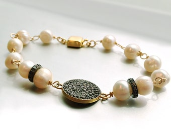 Pearl Bracelet - Pave Diamond Jewelry - Oxidized Sterling Silver - Gold - Mixed Metal Jewellery - Gemstone - Unique - Handcrafted  B-180