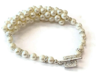 Pearl Bracelet - Wedding Jewellery - June Birthstone - White - Sterling Silver Jewelry - Couture - Mother of the Bride - Chunky. B-198