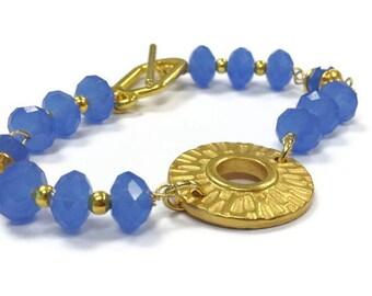 Blue Bracelet - Yellow Gold Jewelry - Crystal Jewellery - Rhodium Plated - Beaded - Cornflower Blue - Glam - Fashion B-217