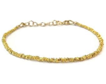 Skinny Gold Bracelet - 24K Gold Vermeil Jewelry Thin Everyday Minimal Gold Jewelry Layering Bracelet B-TBM