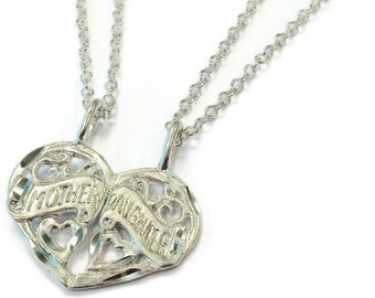 Mother Daughter Necklaces Mother's Day Gift Sterling Silver Jewelry Heart for Mother and Daughter Jewellery N-TBM