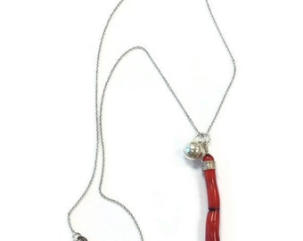 Red Coral Branch Necklace Sterling Silver Jewellery Wire Wrapped Red Coral Jewellery 925 Bell Charm Pendant Drop N-220