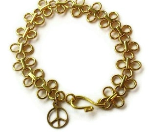 Chain Bracelet Yellow Gold Jewelry Statement Jewellery Peace Sign Charm Fancy Chunky Graduation Unique Mod Anti War B-227
