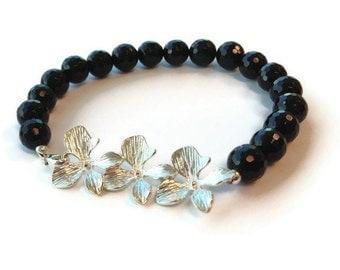 Black Onyx Bracelet - Sterling Silver Jewelry - Flower Jewellery - Orchid - Prom - Graduation - Gemstone  B-TBM